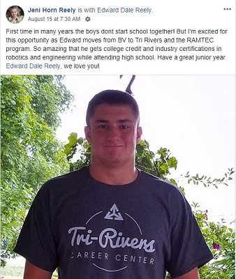 Congratulations to Edward as he starts this school year out in the RAMTEC program!